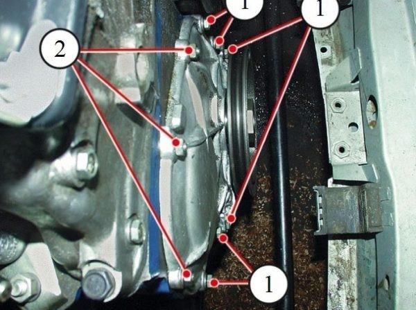 Крепление крышки к блоку мотора
