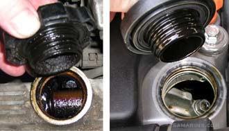 Отложения (слева) и чистая крышка (справа)