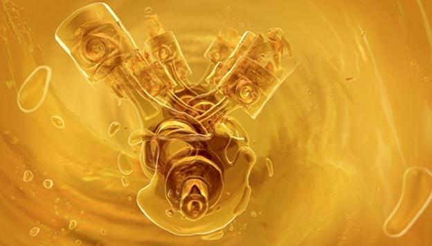 Двигатель и масло. Иллюстрация художника